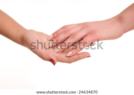 Women's hands sensual touch over white background