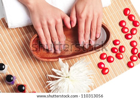 women's hands, taking a spa, care for hands