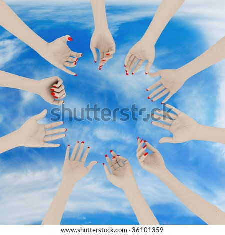 Women's hands up. On sky background.