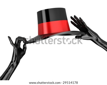 Women's hat and black gloves to cabaret. Isolated on white. - stock photo