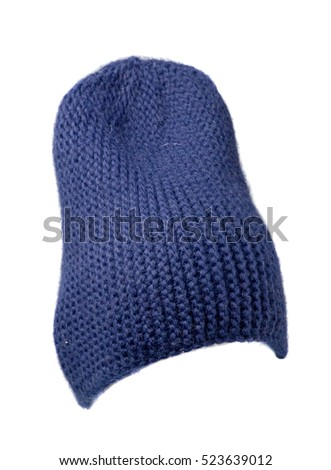 Women's hat, knitted hat isolated on white background. blue hat .
