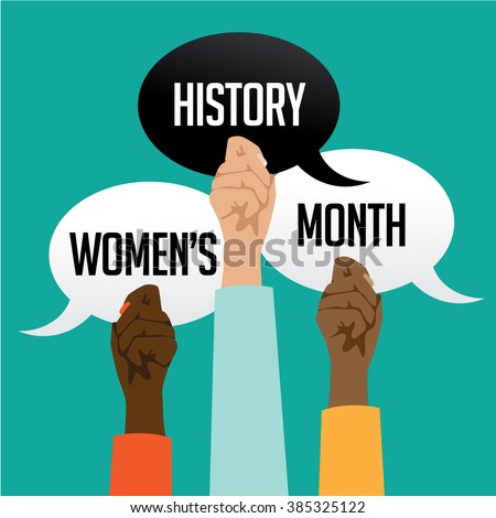 Women's history month design with multicultural hands holding speech bubbles. - stock photo