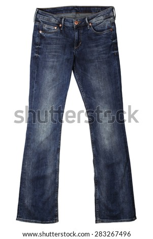 Women's jeans isolated on white background - stock photo