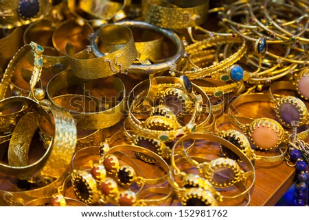 Women's jewelry on the market, the Grand Bazaar in Istanbul. - stock photo