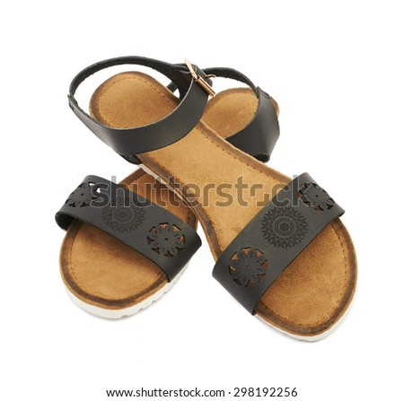 Women's leather sandals isolated on white background - stock photo