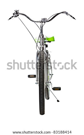 Women's Mountain Bike front view isolated on white - stock photo