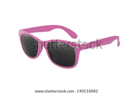 Women's pink sunglasses isolated on white background - stock photo