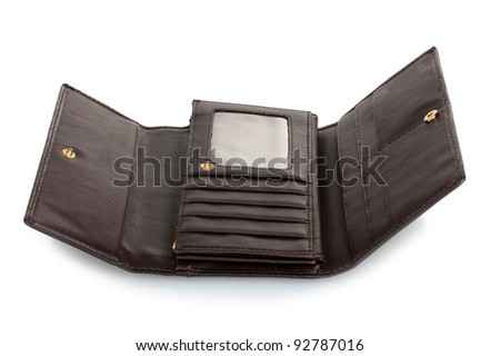 Women's purse isolated on white - stock photo
