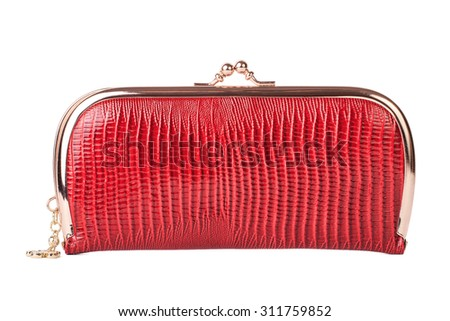 Women's purse isolated on white background - stock photo
