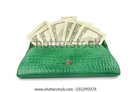 women's purse with money on a white background - stock photo