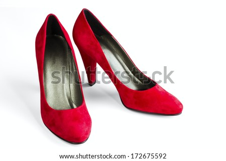 women's red velvet shoes isolated on white background - stock photo