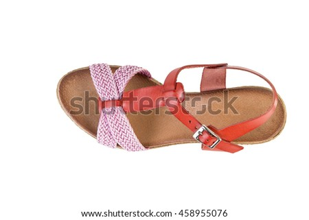 Women's sandals on a white background, online shop
