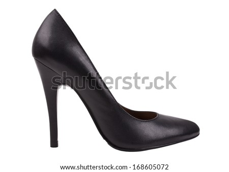 Women's shoes. Classical black boat. - stock photo