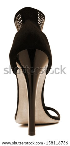 Women's shoes with high heels on a white background - stock photo