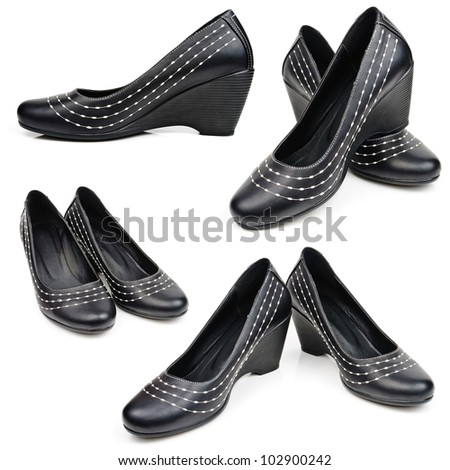 Women's Spring shoes. The photo on white background - stock photo