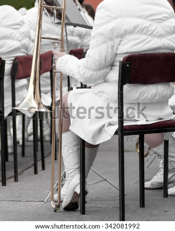 women's street orchestra - stock photo