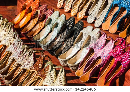 Women's summer shoes in the Eastern market in Dubai, United Arab Emirates - stock photo