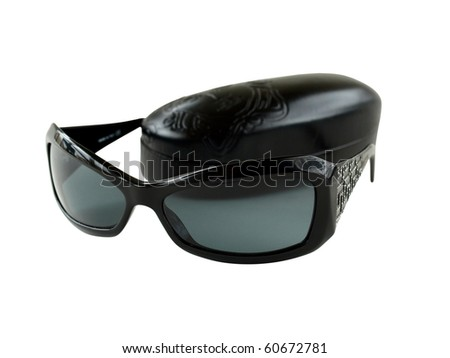 Women's sunglasses with dark case isolated on the white background