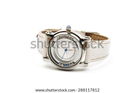 women's watch isolated on white background - stock photo
