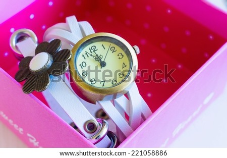 Women's White Watch In A Pink  Box