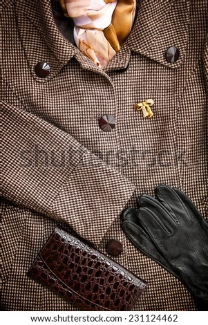 Women's winter coat with leather purse and gloves. - stock photo