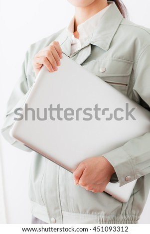 Women's work clothes , laptop , guts pose