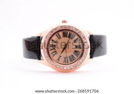 women's wristwatch on white background - stock photo