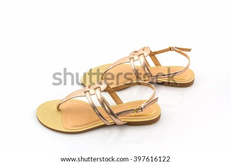 Women sandals shoes on white background. - stock photo