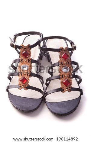 women sandals shoes with stones isolated on white - stock photo