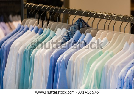 Women shirts on a clothes rack