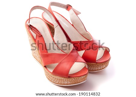 women shoes isolated on white - stock photo