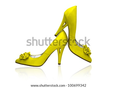 women shoes  on white background - stock photo