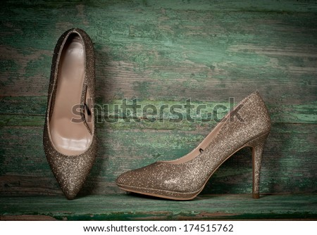 women shoes on wooden background - stock photo