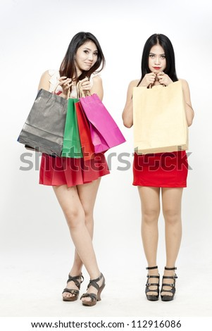 women shopping with colored bags - stock photo