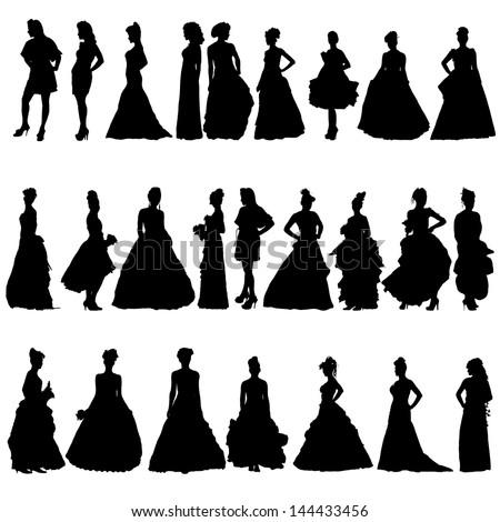 Women silhouettes in various dresses. Raster illustration - stock photo