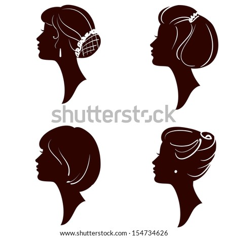Women silhouettes with different hairstyle, set - stock photo