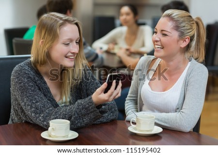 Women sitting at the coffee shop looking at the smartphone smiling - stock photo