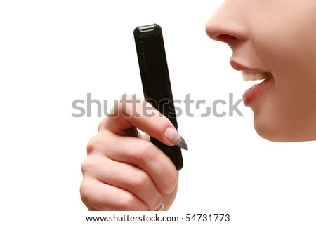 women speaks on the phone - stock photo
