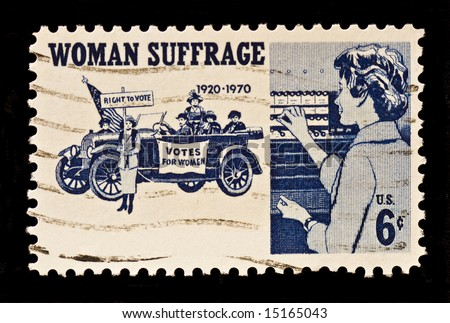 Women Suffrage,the right to vote postal stamp was issued in 1970. The stamp shows suffragettes,1920,and women voters. - stock photo