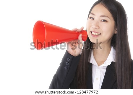 Women suit with a megaphone - stock photo