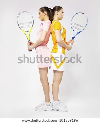 Women tennis players competition - stock photo