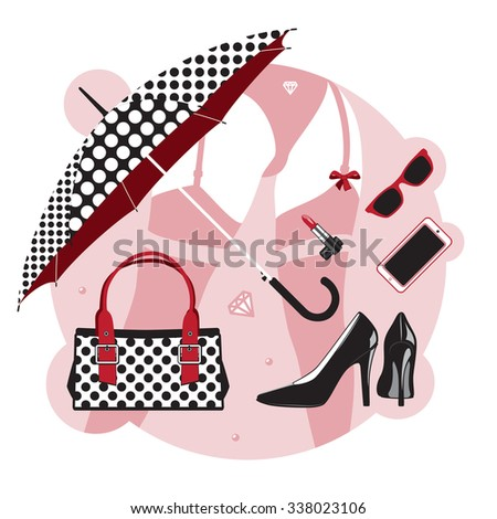 Women things. Set of accessories and clothes, shoes, bag, cosmetics and jewelry - stock photo