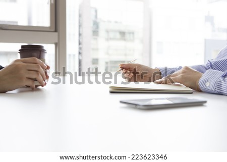 Women to be interviewed in the office - stock photo