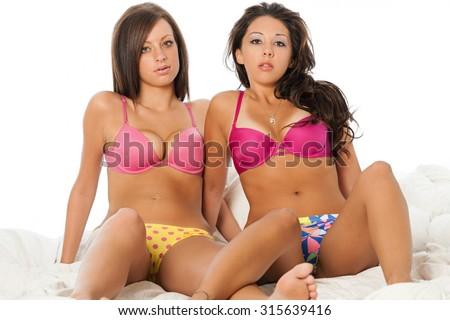 Women wearing colorful underwear - stock photo