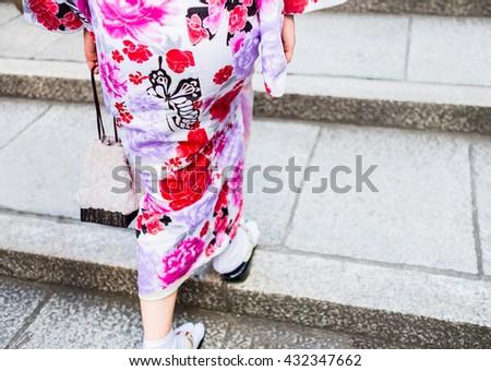 Women wearing kimono walking on street for shopping and cultural day wearing kimono - stock photo