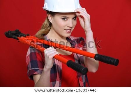 Women wearing white helmet - stock photo