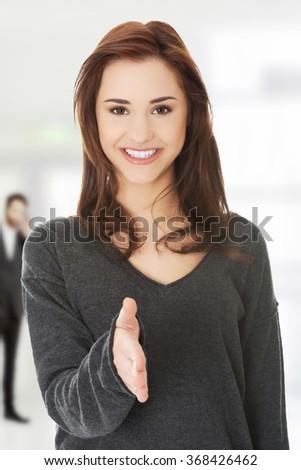 Women welcoming - stock photo
