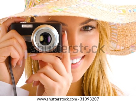 women whith hat and camera - stock photo