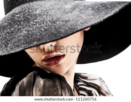 women whith red lips posing in studio on white background - stock photo