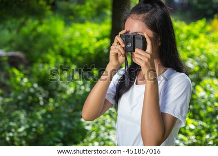 Women who are happy to take pictures. - stock photo